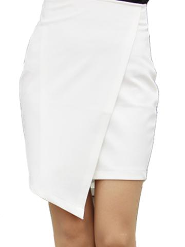 White Wrap Asymmetric Hem Bodycon Skirt