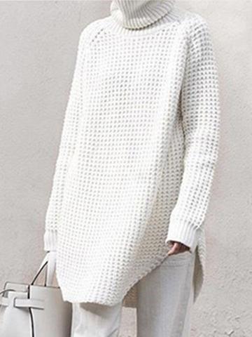 Choies White High Neck Chunky Longline Sweater