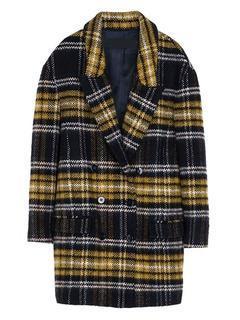 Choies Brown Wool Coat In Grid