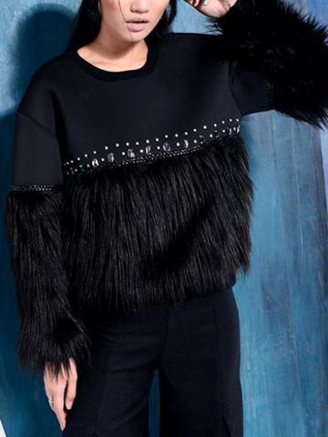 Choies Black Faux Fur Trim Sweatshirt