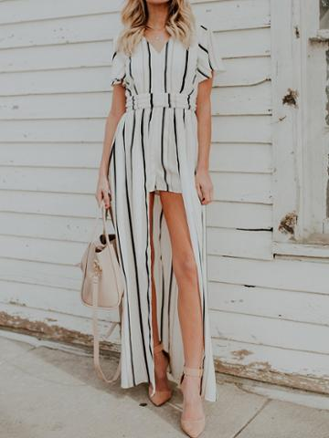 Choies White Stripe V-neck Cut Out Back Chic Women Culotte