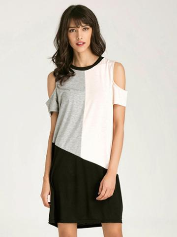 Choies Color Block Cold Shoulder Short Sleeve Shift T-shirt Dress