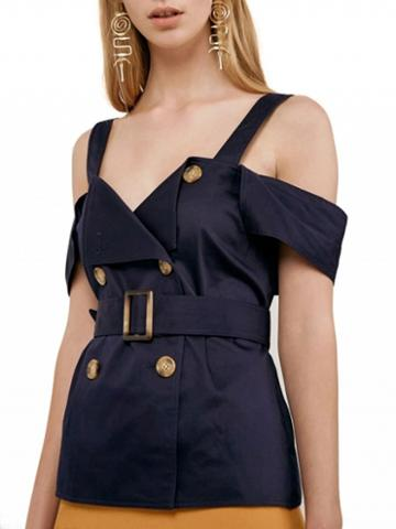 Choies Navy Blue Cold Shoulder Double Breasted Folded Belted Cami Top