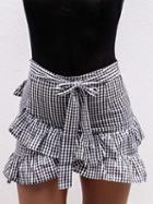 Choies Monochrome Gingham Cross Ruffle Tie Waist Mini Skirt