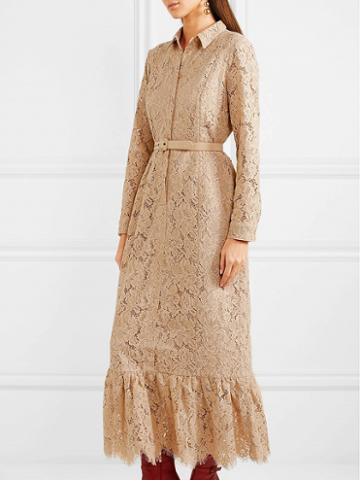Choies Beige Buckle Waist Flounce Hem Long Sleeve Lace Shirt Dress