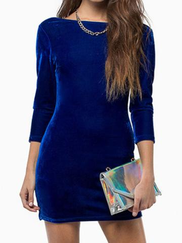 Blue Long Sleeve Backless Velvet Bodycon Dress