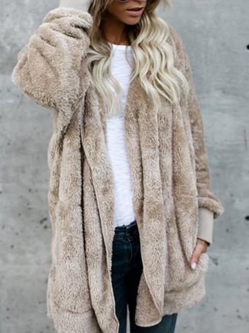 Choies Khaki Open Front Fluffy Hooded Coat