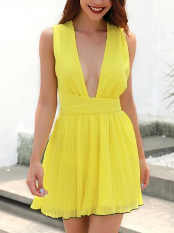 Choies Yellow Chiffon Plunge Cross Strap Back Chic Women Mini Dress