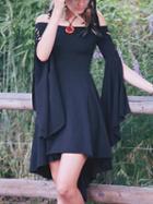 Choies Black Off Shoulder Lace Up Cuff Long Sleeve Hi-lo Mini Dress
