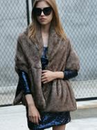 Choies Brown Hooded Faux Fur Cape Coat