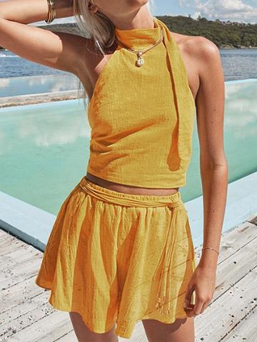 Choies Yellow Halter Open Back Crop Top And High Waist Shorts