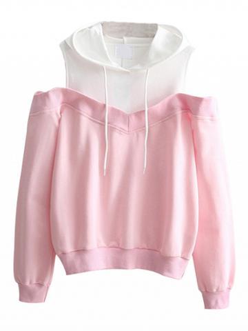 Choies Pink Contrast Cold Shoulder Drawstring Long Sleeve Hoodie