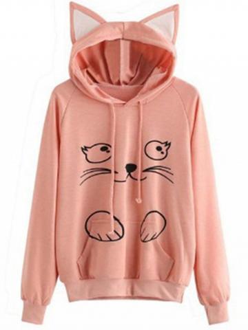 Choies Pink Cat Print Long Sleeve Women Cat Ear Hoodie