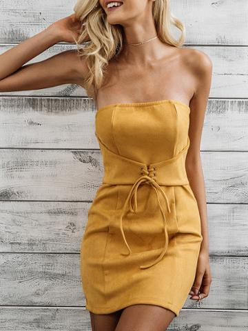 Choies Yellow Bandeau Lace Up Front Bodycon Mini Dress