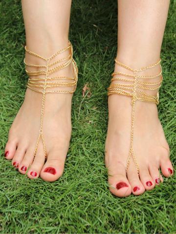 Choies Golden Multilayer Fine Chain Barefoot Sandals