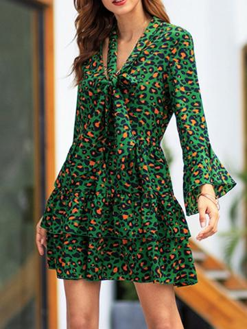 Choies Green Leopard Print Tie Front Flare Sleeve Women Mini Dress