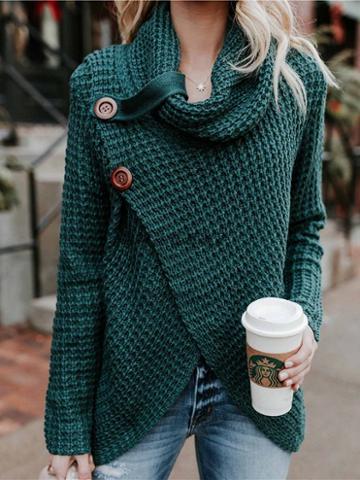 Choies Dark Green High Neck Asymmetric Hem Long Sleeve Women Sweater