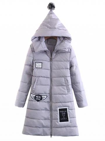 Choies Gray Patch Detail Long Sleeve Padded Hooded Coat