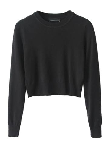 Black Long Sleeve Cropped Knit Sweater