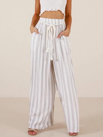 Choies White Stripe Cotton High Waist Pocket Detail Chic Women Wide Leg Pants