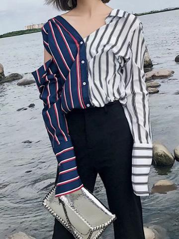 Choies Color Block Stripe V-neck Cut Out Long Sleeve Asymmetric Shirt
