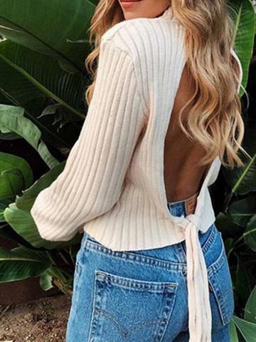 Choies Khaki High Neck Open Back Long Sleeve Women Knit Sweater