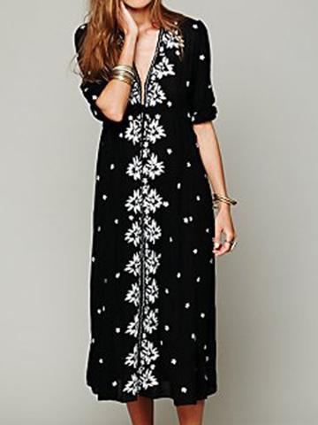 Choies Black Embroidery V Neck Midi Dress