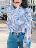 Choies Blue Stripe Stand Collar Ruffle Trim Long Sleeve Shirt