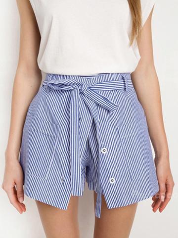 Choies Blue Stripe High Waist Pocket Paneled Skort