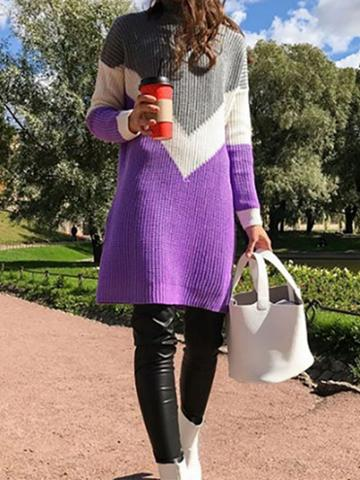Choies Purple Contrast High Neck Long Sleeve Chic Women Knit Sweater
