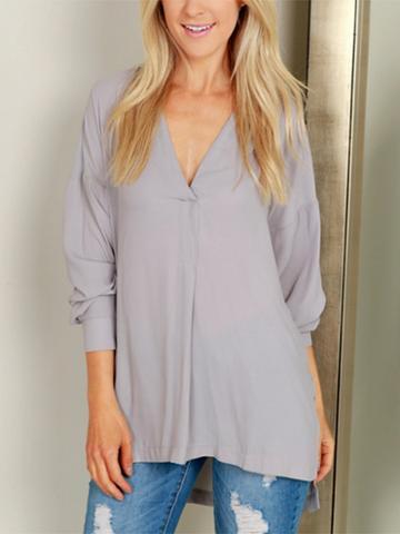 Choies Gray V-neck Split Side Long Sleeve Blouse