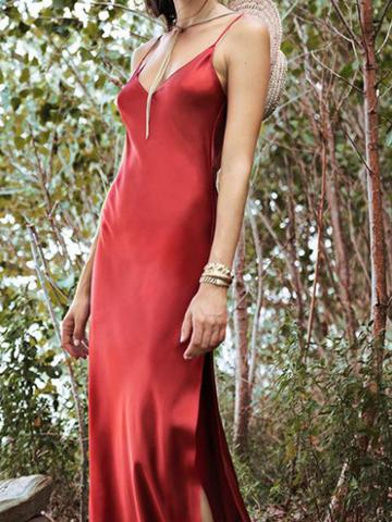 Choies Red Satin Look V-neck Thigh Split Side Women Cami Maxi Dress