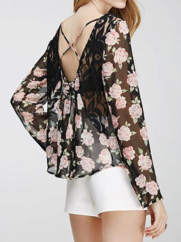 Choies Polychrome Floral Strap Back Cross Lace Panel Sheer Blouse