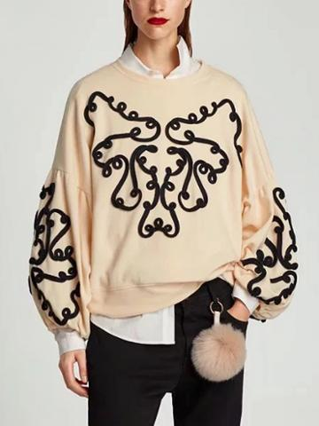 Choies Beige Puff Sleeve Sweatshirt