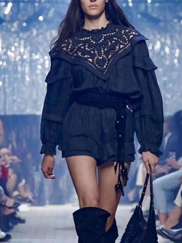 Choies Black Lace Panel Cut Out Detail Puff Sleeve Women Mini Dress