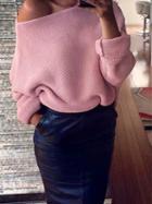 Choies Pink Off Shoulder Open Knit Sweater