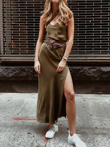 Choies Army Green Satin Look V-neck Thigh Split Side Women Cami Maxi Dress