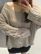 Choies Gray V-neck Cable Knit Sweater