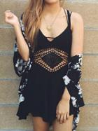 Choies Black Crochet Waist Backless Romper Playsuit
