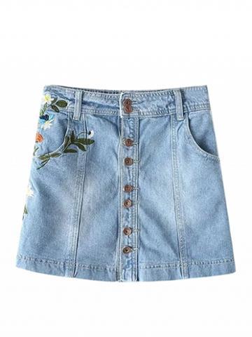 Choies Blue Light Wash Embroidery A-line Denim Skirt