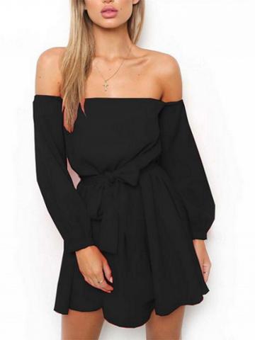 Choies Black Off Shoulder Tie Waist Long Sleeve Mini Dress