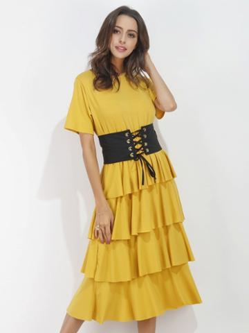 Choies Yellow Short Sleeve Corset Belt Layered Dress