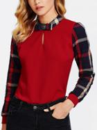 Choies Red Contrast Plaid Long Sleeve Blouse