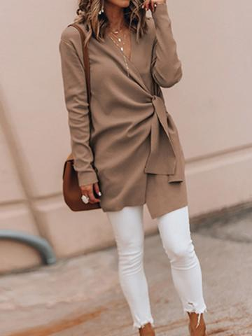 Choies Khaki V-neck Tie Waist Long Sleeve Chic Women Wool Blend Coat