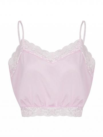 Choies Pink V-neck Lace Trim Cropped Cami Top
