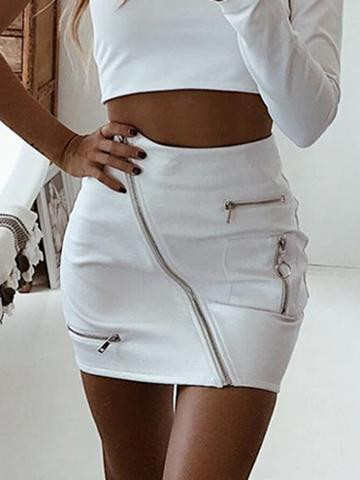 Choies White Leather Look Circle Zip Front High Waist Chic Women Pencil Skirt