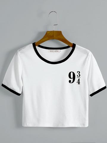 Choies White Cotton Crew Neck Number Print Chic Women Crop T-shirt