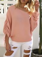 Choies Pink Off Shoulder Drawcord Ruched Sleeve Ribbed Knit Sweater