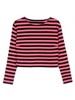 Choies Choies Design Pink Stripe Crop Top With Long Sleeves