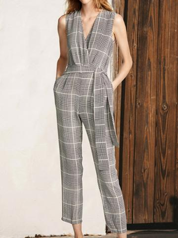 Choies Gray Plaid V-neck Tie Waist Sleeveless Chic Women Jumpsuit